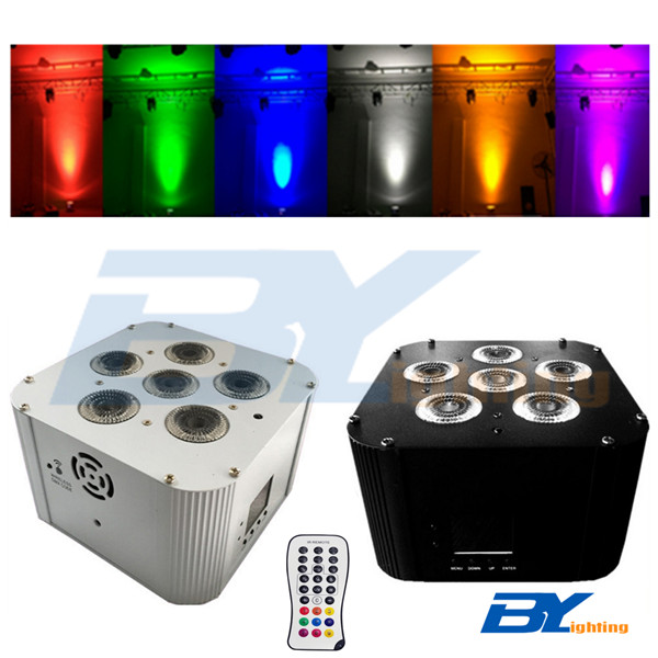 BY-866B  6x15W 6 in 1 RGBWA+UV LED Wireless Mini Par With Rechargeable Battery and Mobile App Control